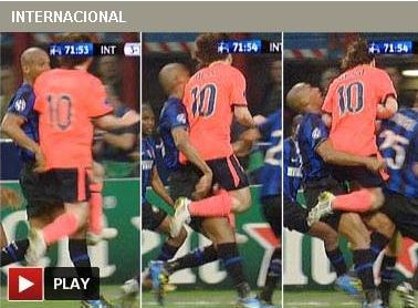 Leo Messi le saltó un diente a Maicon
