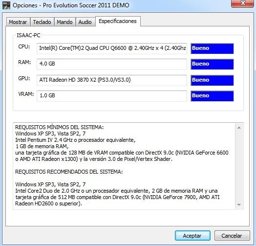 PES2011 PC: Requisitos