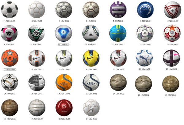 PES2012: Lista de balones