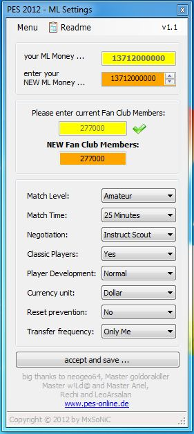 master league settings pes2012