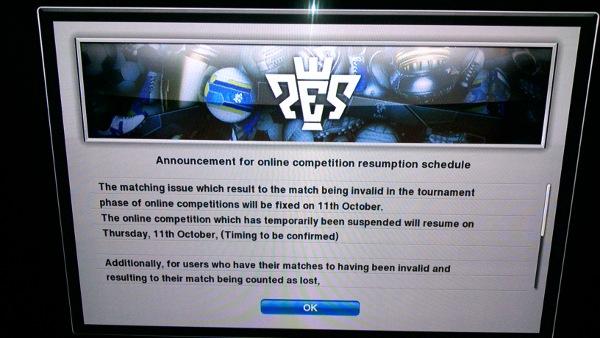 PES2013: Reanudación de las competiciones online