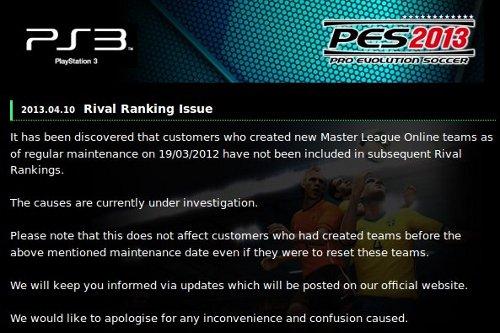 PES 2013: Problema detectado en el Ranking de Rivales de la Liga Master Online