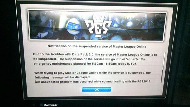 PES2013: Master League Online, MyPES y partido especial no activos por problemas