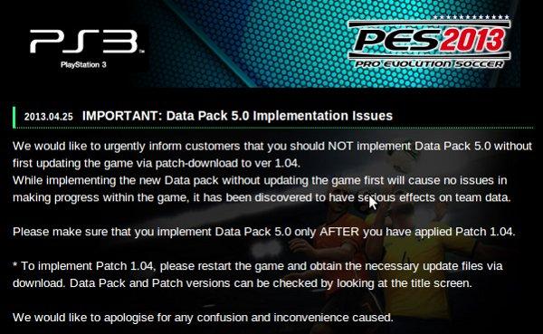 PES 2013: Problemas detectados con el Paquete de Datos 5.00