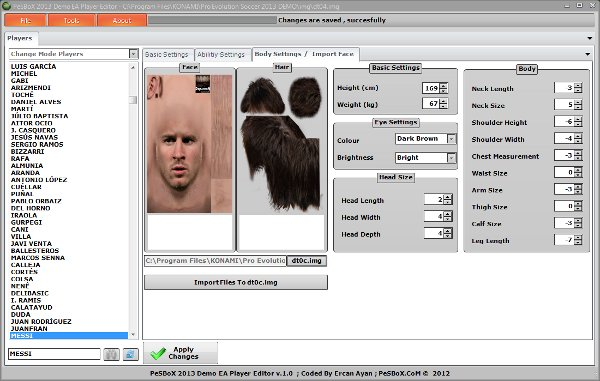 demo ea player editor para pes2013