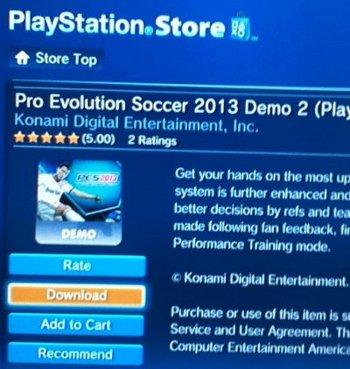 PES2013: DEMO 2 ya disponible en la Store Americana