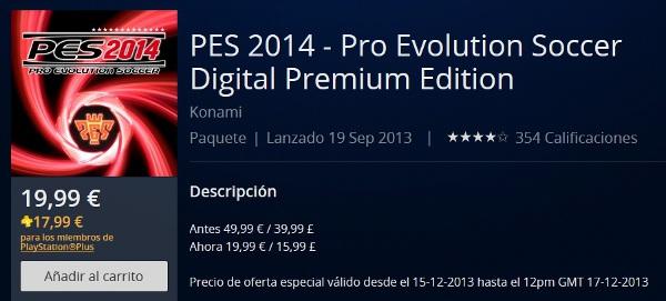 PES 2014: Oferta navidad, disponible por 19,99 euros para PS3
