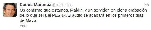 Carlos Martinez y Maldini serán los comentaristas de PES 2014 para España