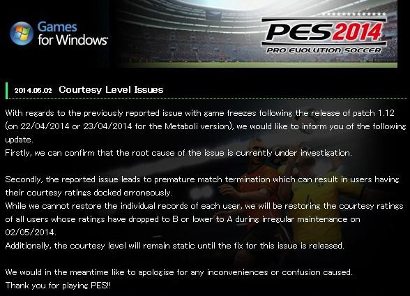 PES 2014 PC: Problemas tras la actualización del parche 1.12
