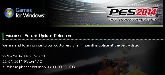 PES 2014: Patch 1.12 y DLC 5.0 disponibles el 22 de abril para PC