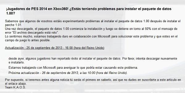 PES 2014: Problema instalacion DLC 1.00 en XBOX 360