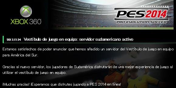 PES 2014: Activado servidor sudamericano para vestíbulo de juego en equipo para Xbox 360