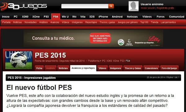 3Djuegos PES 2015: El nuevo fútbol PES