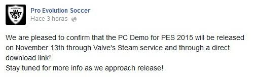 PES 2015: La demo de PC llegará el 13 de noviembre