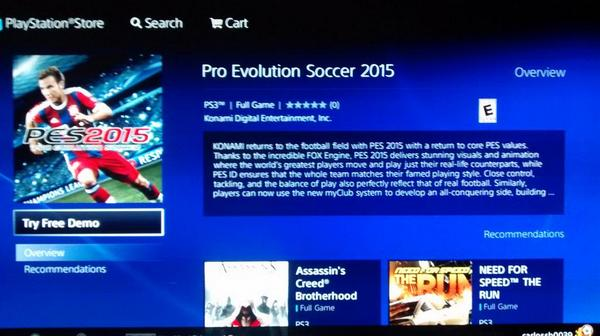 PES 2015: Demo disponible en el Store Americano para PS3 y PS4