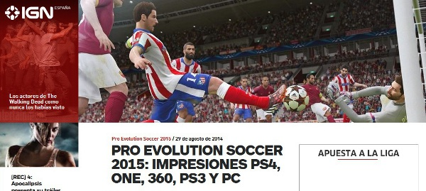 PES 2015 IGN: Impresiones PS4, Xbox One, 360, PS3 y PC
