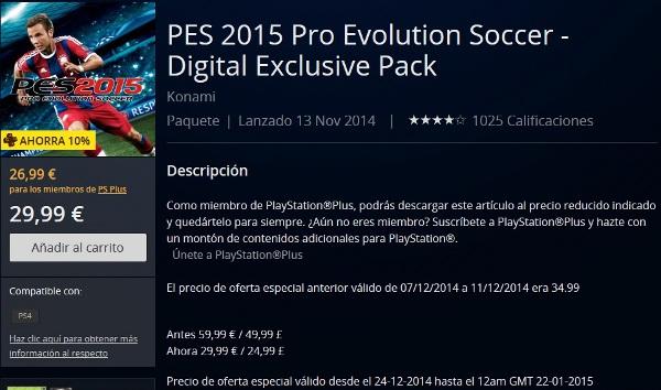 PES 2015: En rebajas para PS4, PS3 y PC por navidad