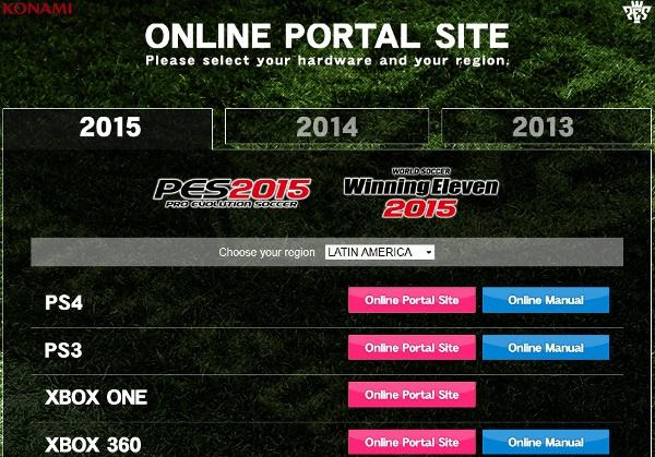 PES 2015: Online portal site abierto