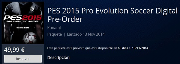 PES 2015: Ya disponible la reserva en versión digital en PSN