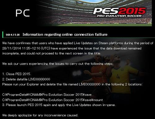 PES 2015: Problemas Online usuarios de PC