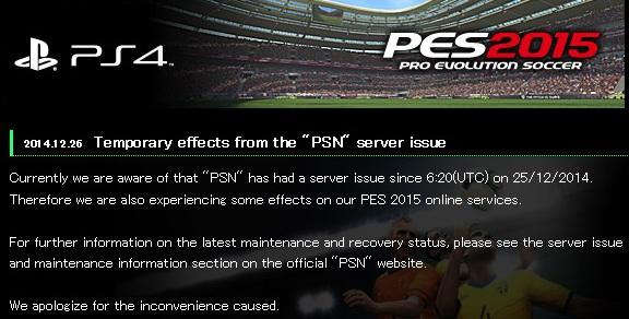 PES 2015: PlayStation Network caído temporalmente