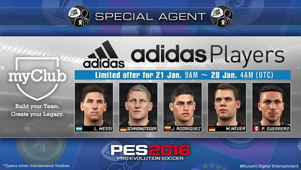PES 2016: Los jugadores Adidas llegan a MyClub