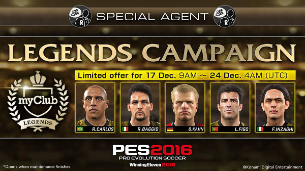 PES 2016: MyClub Legends ya disponible