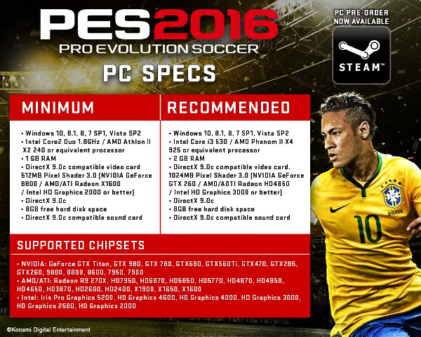 PES 2016: Requisitos del sistema