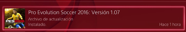 PES 2016: Nueva actualización oficial 1.07