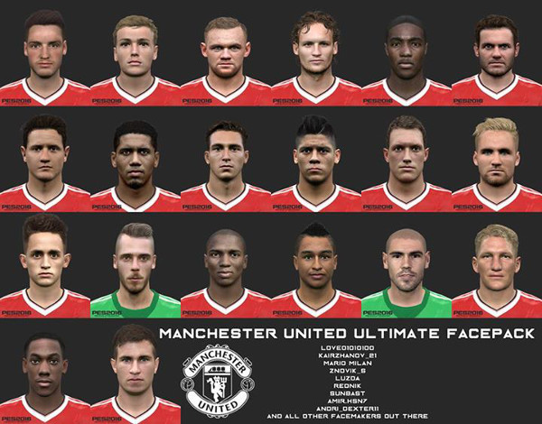PES 2016 Manchester United Ultimate Facepack - by love01010100