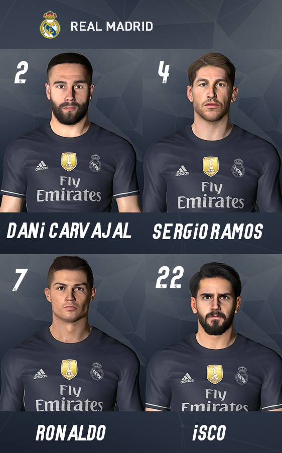 caras real madrid pes 2017