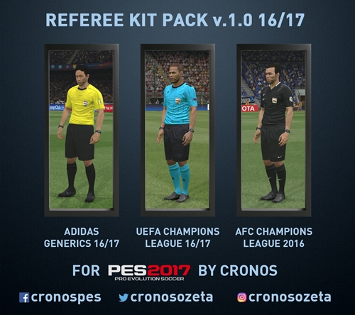 Kit Pack de Arbitros 16-17 v1.0 Adidas Generics PES 2017 PC - by cRoNoSHacK