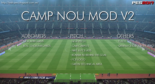 Camp Nou Mod v2 PES 2017 PC - by Txak