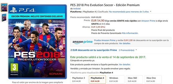 PES 2018: Resérvalo ya para PS4, PS3, XBOX ONE, XBOX 360 o PC