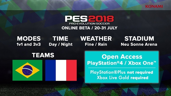PES 2018: Habrá Beta Online del 20 al 31 de julio para PS4 y Xbox One