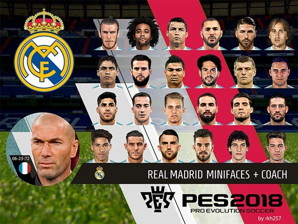 Real Madrid Mini Faces and Coach PES 2018 PC - by rkh257