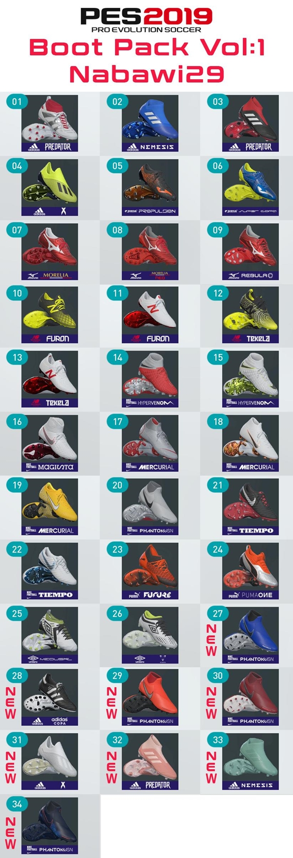 Boots Pack V1 PES 2019 PC - by nabawi29