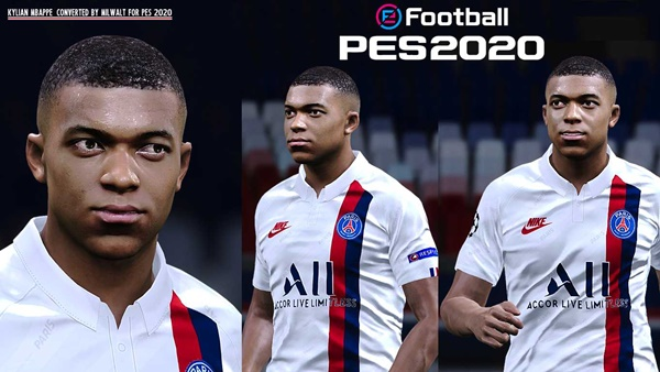 Kylian Mbappe Face PES 2020 - by Milwalt
