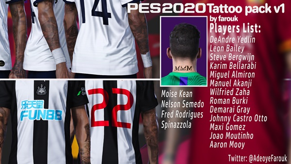 Tattoos Pack V1 PES 2020 PC - by Farouk