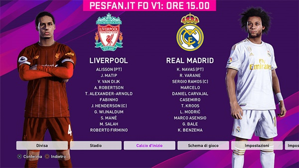 Option File V1 PESFan.it eFootball PES 2020 PS4