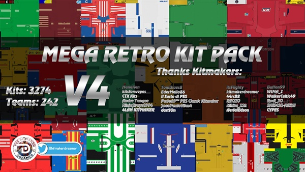 Mega Pack kits retro V4 PES 2021